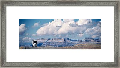 Truck On The Road, Interstate 70, Green Framed Print