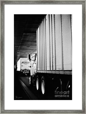 Truck Traffic In Tunnel Framed Print