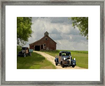 Trucks And Barn Framed Print by Jack Zulli