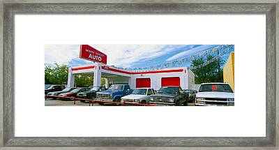 Trucks In Used Car Lot, Roswell, New Framed Print by Panoramic Images