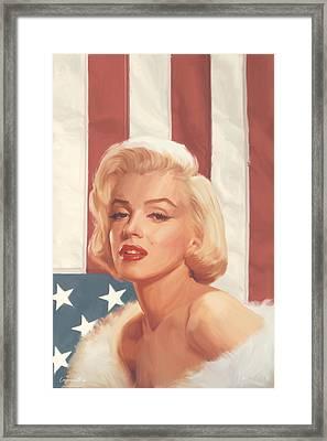 True Blue Marilyn In Flag Framed Print by Chris Consani
