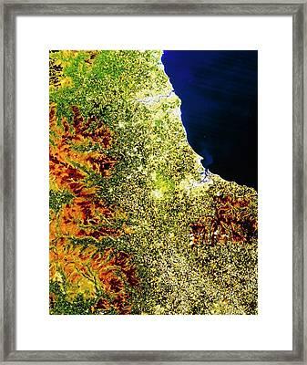 True-colour Satellite Image Of North-east England Framed Print