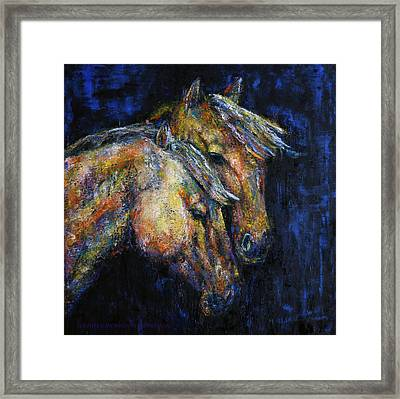 True Companions Contemporary Horse Painting Framed Print