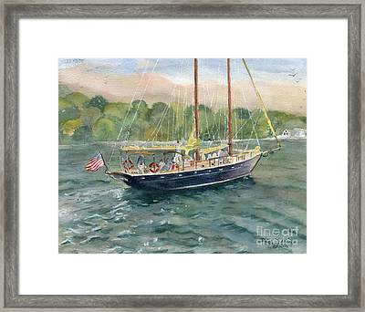 True Love Schooner Framed Print by Melly Terpening