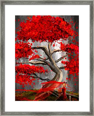 True Love Waits - Red And Gray Art Framed Print by Lourry Legarde