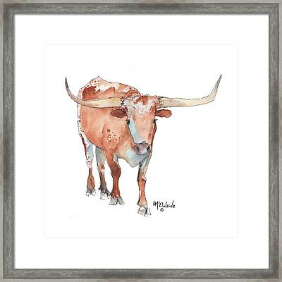 Square Walking Tall Texas Longhorn Watercolor Painting By Kmcelwaine Framed Print by Kathleen McElwaine