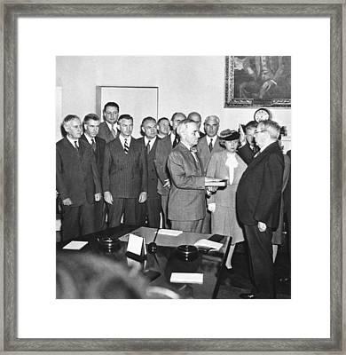 Truman Becomes President Framed Print by Underwood Archives