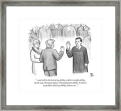 Trump Being Sworn Into Office Framed Print