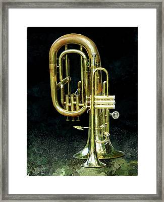 Trumpet And Tuba Framed Print by Susan Savad