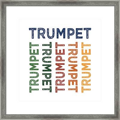 Trumpet Cute Colorful Framed Print by Flo Karp