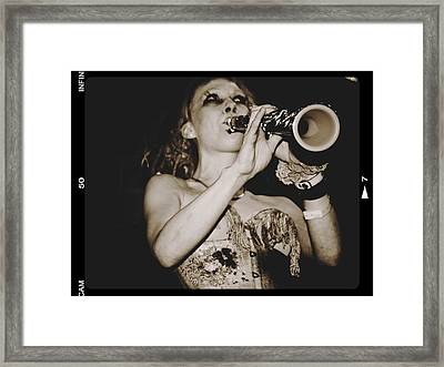 Framed Print featuring the photograph Trumpet Lady by Alice Gipson