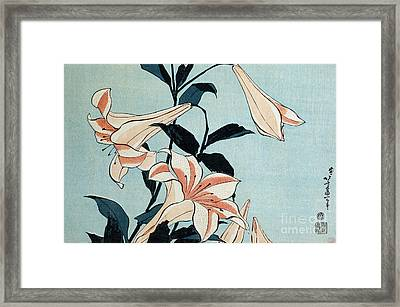 Trumpet Lilies Framed Print by Hokusai