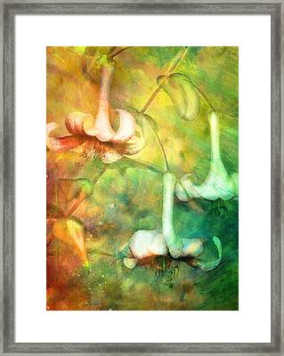 Trumpet Lilies In A Magical Forest Framed Print by Georgiana Romanovna