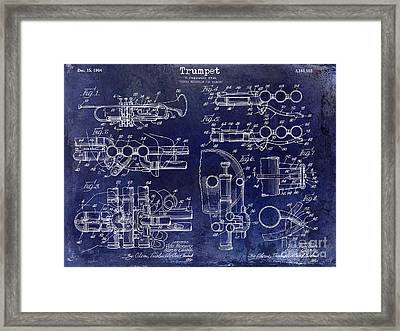 Trumpet Patent Drawing Blue Framed Print