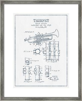 Trumpet Patent From 1939 - Blue Ink Framed Print by Aged Pixel