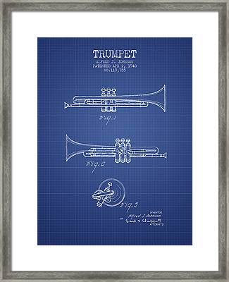 Trumpet Patent From 1940 - Blueprint Framed Print by Aged Pixel