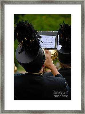 Trumpet Player In Marching Band Framed Print by Amy Cicconi