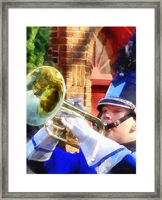 Trumpet Player In Marching Band Framed Print by Susan Savad