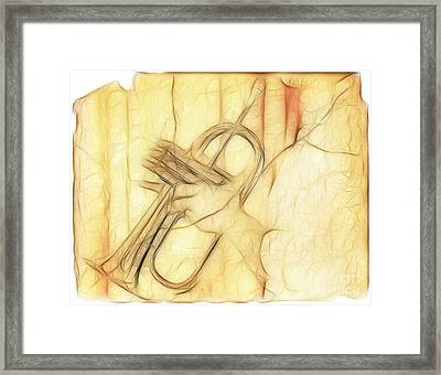 Trumpeter On The Scrap Of Paper - Grunge Style Framed Print by Michal Boubin