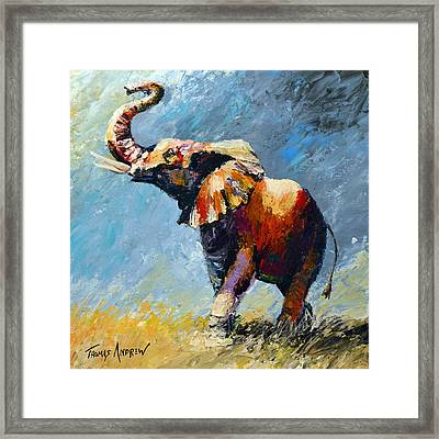 Trumpeting Into The Light Of Victory Framed Print by Thomas Andrew