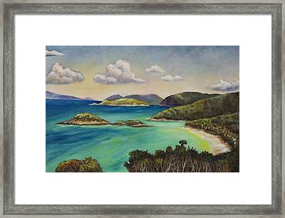 Trunk Bay Overlook Framed Print by Eve  Wheeler