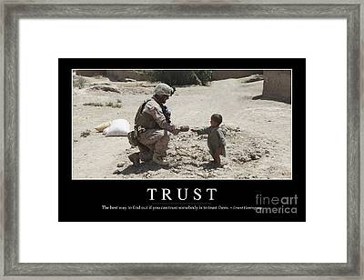 Trust Inspirational Quote Framed Print by Stocktrek Images