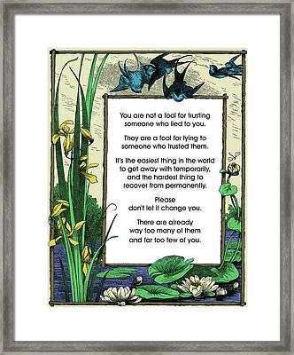 Trust Framed Print by Mike Flynn