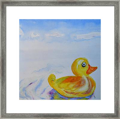 Trying Out The Big Water Framed Print by Beverley Harper Tinsley