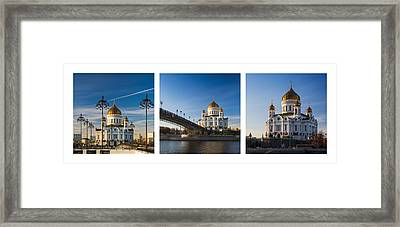 Tryptich - Cathedral Of Christ The Savior Of Moscow City - Features 3 Framed Print by Alexander Senin