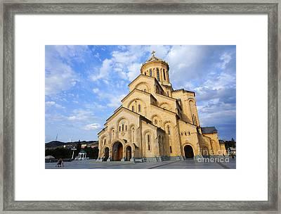Tsminda Sameba Cathedral Tbilisi Georgia Framed Print by Robert Preston