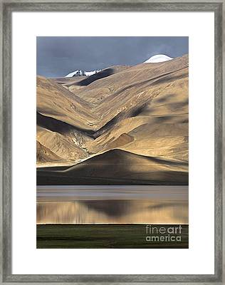 Golden Light Tso Moriri, Karzok, 2006 Framed Print by Hitendra SINKAR