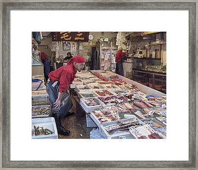 Framed Print featuring the photograph Tsukiji Fish Market Tokyo by Colleen Williams