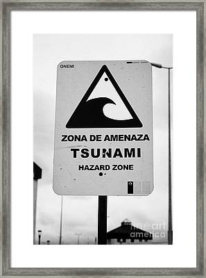 Tsunami Hazard Warning Zone Punta Arenas Chile Framed Print by Joe Fox