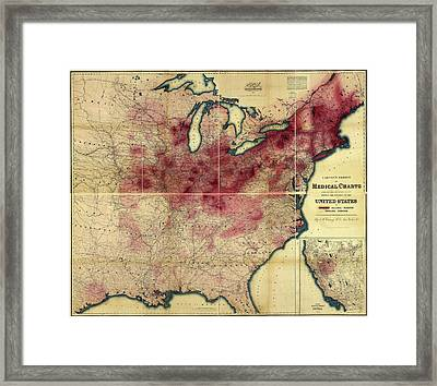 Tuberculosis In The Usa Framed Print by Library Of Congress, Geography And Map Division