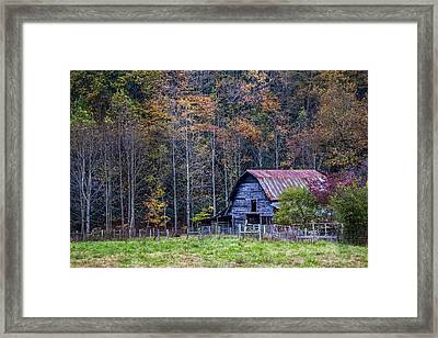 Tucked Into Fall Framed Print by Debra and Dave Vanderlaan
