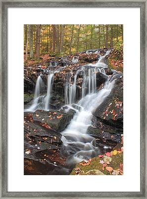 Tucker Brook Falls In Autumn Framed Print by John Burk