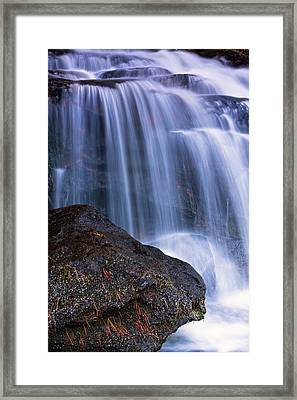 Tucker Brook Falls With Boulder. Framed Print by Jeff Sinon