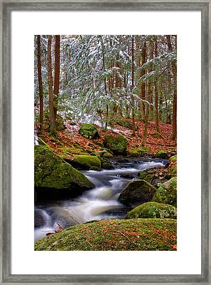 Tucker Brook First Snow Framed Print by Jeff Sinon