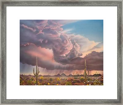 Tucson Mountain Sunset Framed Print by Jerry Bokowski