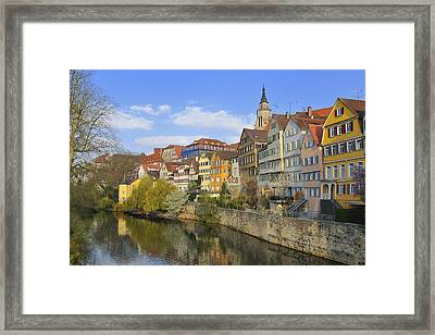 Tuebingen Neckarfront With Beautiful Old Houses Framed Print by Matthias Hauser