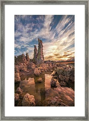 Tufas At Sunset On Mono Lake Framed Print by Sheila Haddad