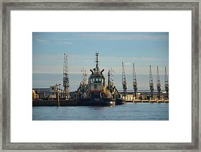 Tug Boat And Cranes Framed Print