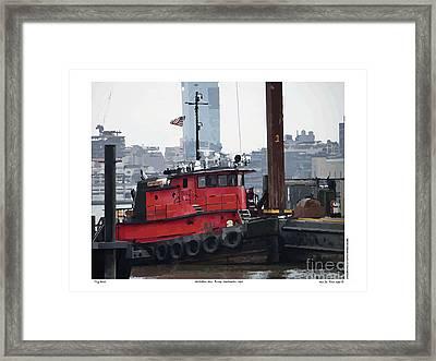 Framed Print featuring the digital art Tug Boat B by Kenneth De Tore