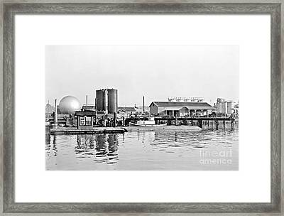 Tug Boat On The Waterfront Framed Print