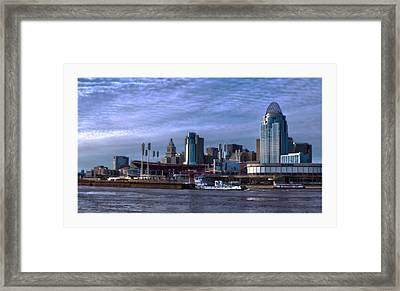 Tug Boat Passing Great American Framed Print by Tom Climes
