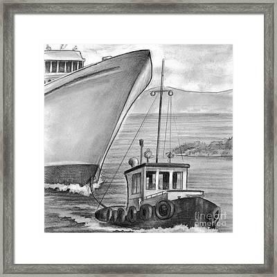 Tug Boat Towing Cruise Ship Framed Print