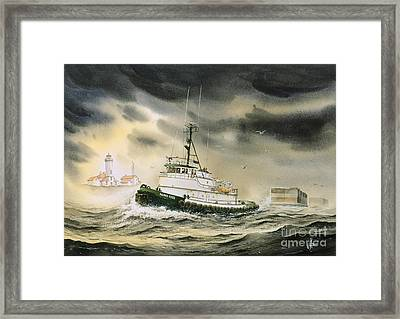 Tugboat Agnes Foss Framed Print by James Williamson