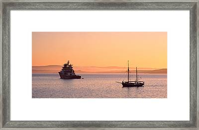 Tugboat And A Tall Ship In The Baie De Framed Print