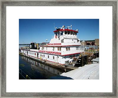Tugboat And Barge Framed Print by Deb Schense