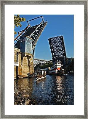 Tugboat And Fremont Bridge Framed Print by Donald Sewell